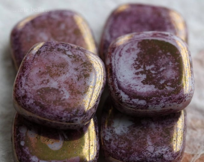 sale .. GILDED PINK SQUARES .. 6 Premium Czech Picasso Glass Beads 13x4mm (5935-6)