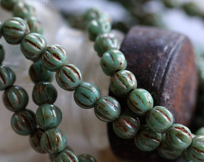 TURQUOISE MELONS No. 2 .. 50 Premium Picasso Czech Glass Melon Beads 4mm (5994-st)