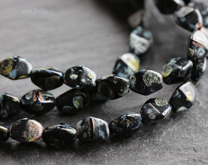 PINCHED MIDNIGHT No. 2 .. NEW 37 Premium Picasso Czech Glass Pinch Beads 6mm (6836-st)