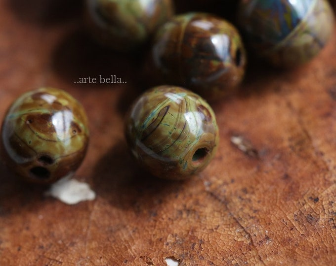 OLIVE AMBER MARBLES 6mm .. 10 Premium Picasso Czech Druk Glass Beads (6478-10)