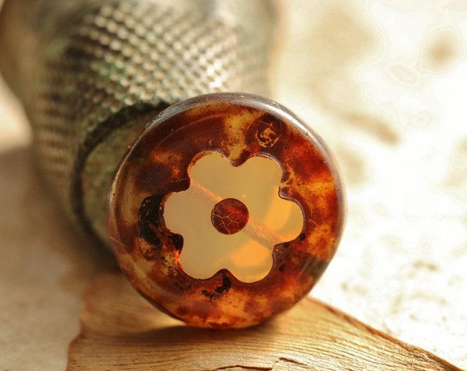 EARTHY OPAL BLOSSOMS .. New 4 Premium Picasso Czech Glass Flower Beads 14mm (8858-4)