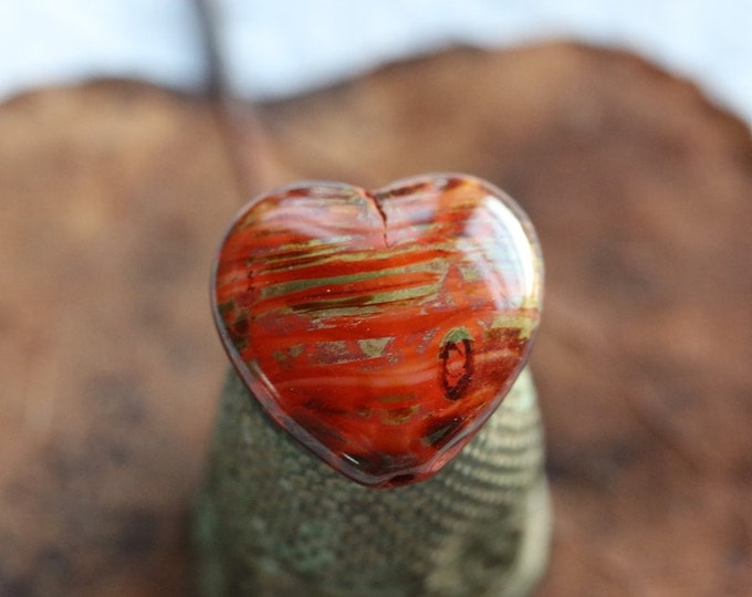 EARTHY ORANGE THUMPERS .. 4 Premium Picasso Czech Glass Puffy Heart Beads 16x15mm (8587-4)
