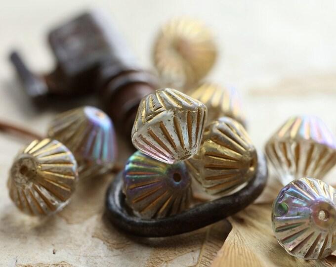 GOLDEN MYSTIC TUTUS .. New 10 Premium Czech Glass Fluted Bicone Beads 11mm (8798-10)