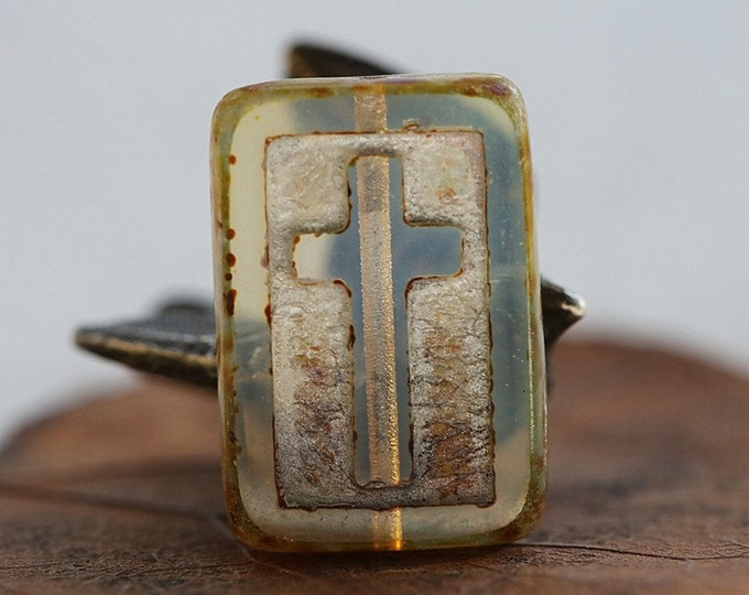 SILVERED GLOW CROSSES .. New 6 Premium Picasso Czech Glass Cross Rectangle Beads 17x12mm (8617-6)