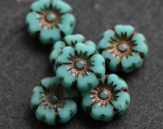BRONZED TURQUOISE PANSY No. 1 .. 10 Premium Picasso Czech Glass Flower Beads 7mm (6420-10)