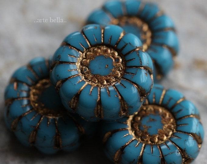 GOLDEN BLUE SUNFLOWERS .. New 4 Premium Picasso Czech Glass Flower Beads 13mm (7024-4)