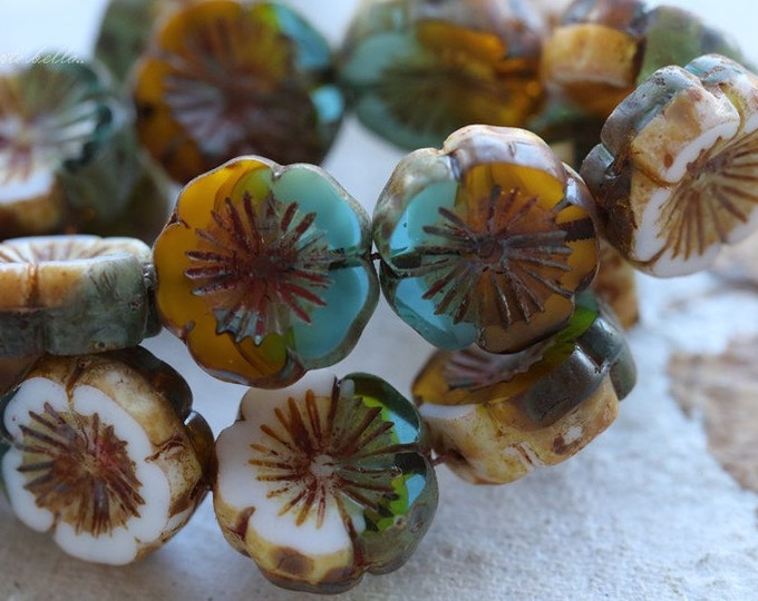 CANARY ISLAND PANSIES .. 4 Picasso Glass Czech Chunky Beads 14mm (4019-4)