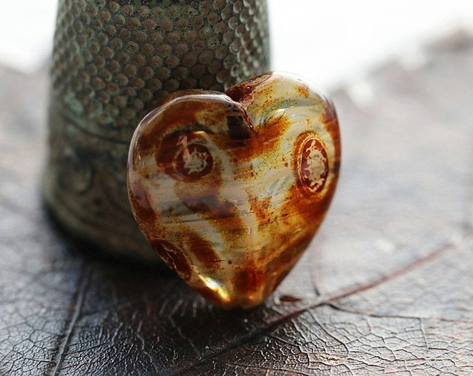 TOASTED MALLOW THUMPERS .. 4 Premium Picasso Czech Glass Puffy Heart Beads 16x15mm (8516-6)