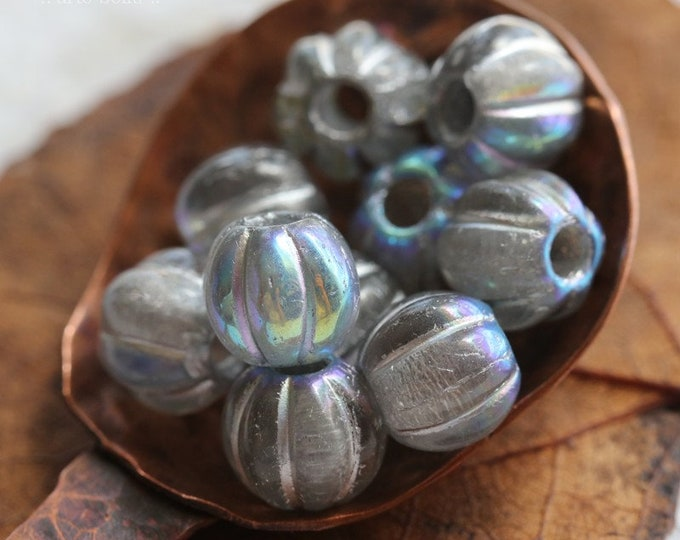 MYSTIC SILVERED MELONS 8mm .. 10 Premium Large Hole Czech Glass Melon Beads (8096-10)