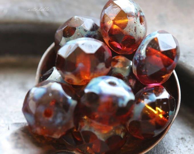 MARMALADE No. 2 .. 10 Premium Picasso Czech Glass Rondelle Bead 6x8mm (5900-10)