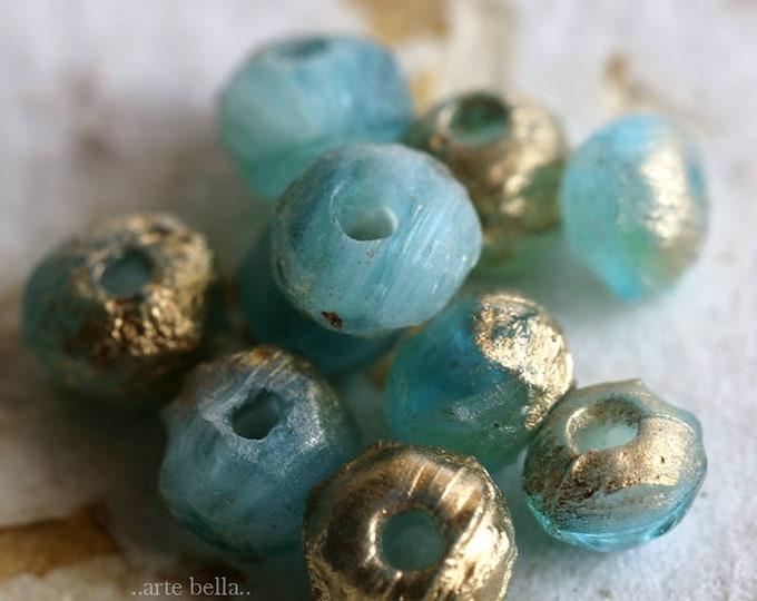sale .. RUSTIC BEACH STONES .. 10 Premium Picasso Czech Glass Beads 4x6mm - 5x7mm (6027-10)