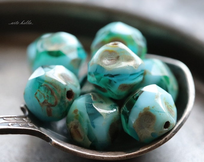 OCEANIC NUGGETS .. 10 Czech Picasso Baroque  Glass Beads 8mm (5163-10)