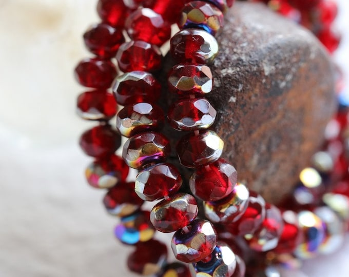 MYSTIC CRANBERRY BABIES .. 30 Premium Czech Glass Faceted Rondelle Beads 3x5mm (8077-st)