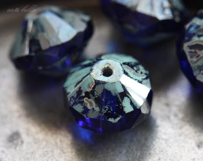 WICKED COBALT .. 4 Premium Picasso Czech Glass Rivoli Bead 13x10mm (3767-4)
