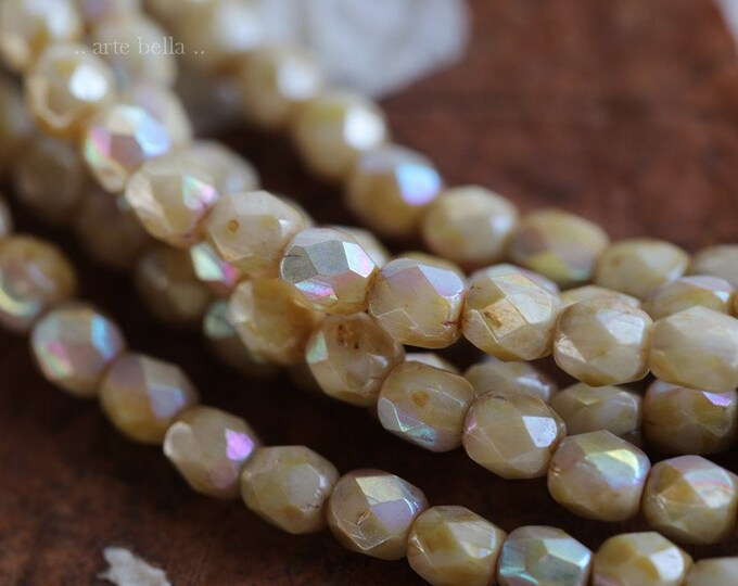 MYSTIC HONEY 4mm .. 50 Premium Picasso Faceted Czech Glass Beads 4mm (6590-st)