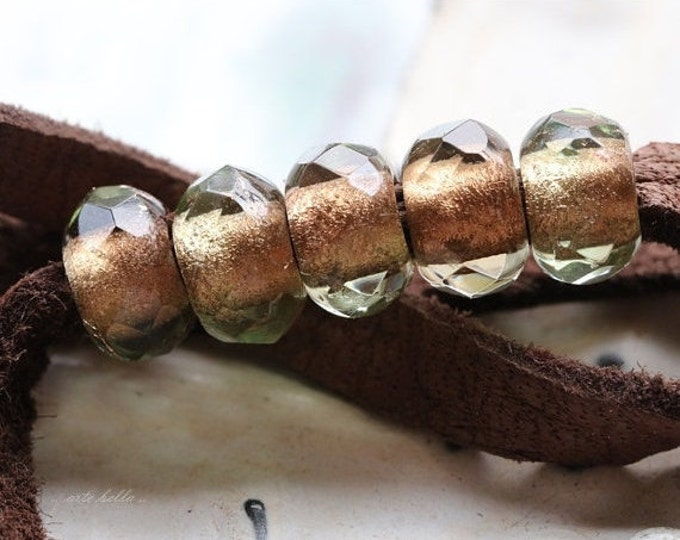 WINTERGREEN DREAMETTES .. 10 Premium Picasso Czech Glass Large Hole Roller Beads 6x9mm (4739-10)