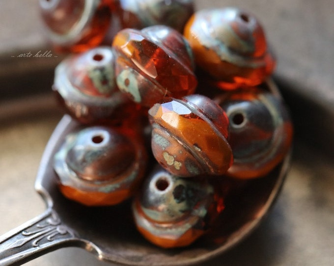 ORANGE BLISS No. 1 .. 10 Premium Picasso Czech Glass Saturn Beads 8x10mm (4878-10)