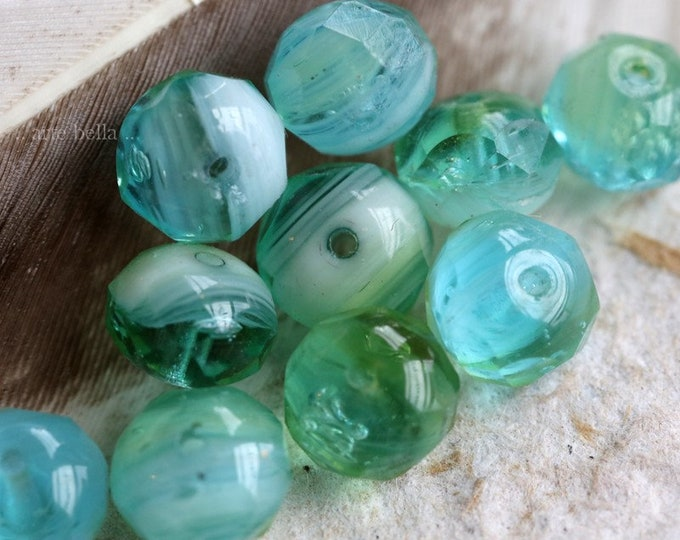 BLUE APPLES .. 10 Premium Czech Glass Faceted Rondelle Beads 6x9mm (7753-10)
