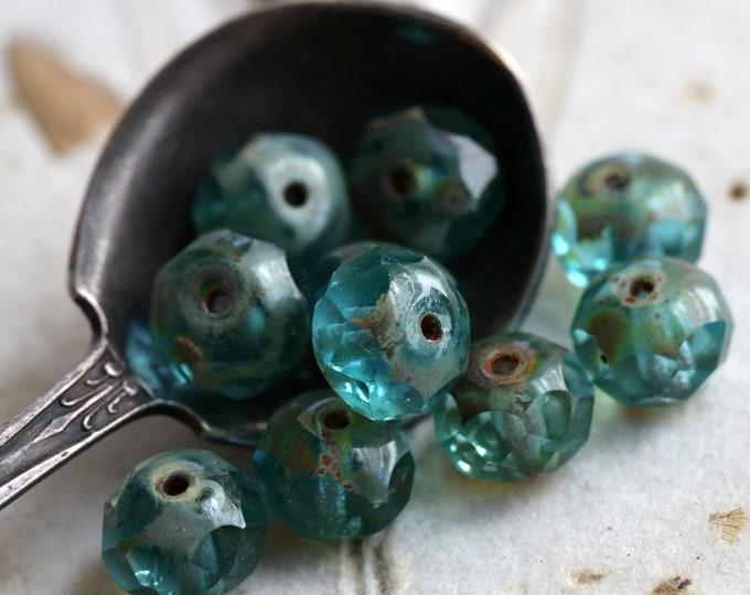 AQUA BEACH .. 10 Premium Picasso Czech Glass Rondelle Beads 6x8mm (2419-10)