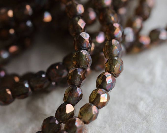 OIL SLICK BITS .. 50 Premium Faceted Czech Glass Beads 3mm (6056-st)