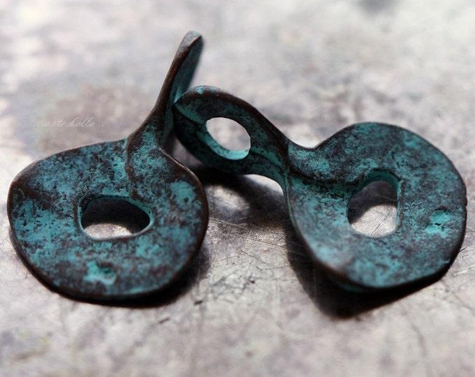 TWISTED FLAKES .. 2 Mykonos Greek Dangle Drop Beads 13x19mm (M20-2)