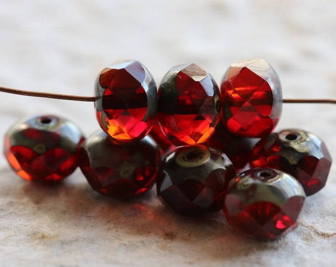 POMEGRANATE MARMALADE .. 10 Premium Picasso Czech Rondelle Glass Beads 6x8mm (6096-10)