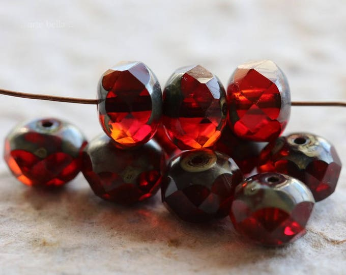 POMEGRANATE MARMALADE .. 10 Picasso Czech Rondelle Glass Beads 6x8mm (6096-10)