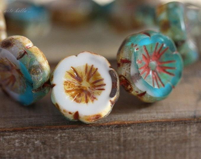 sale .. ISLAND PANSIES .. 4 Picasso Czech Glass Flower Beads 14-15mm (4199-4)