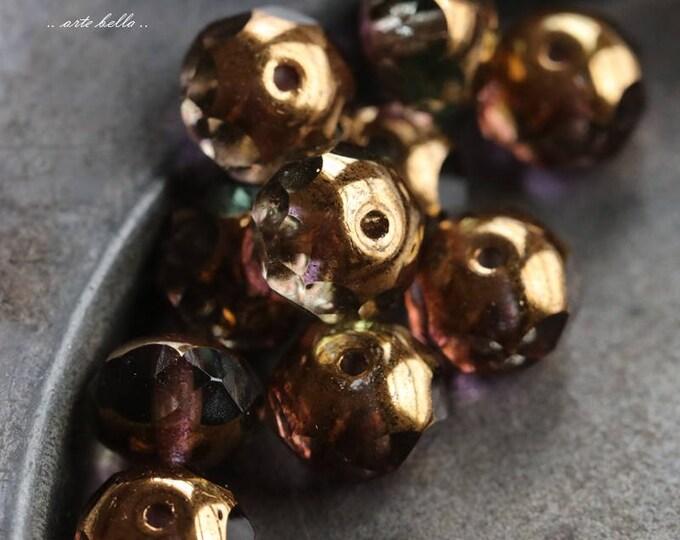 WINTERGREEN .. 10 Premium Picasso Czech Glass Beads 6x8-9mm (5738-10)