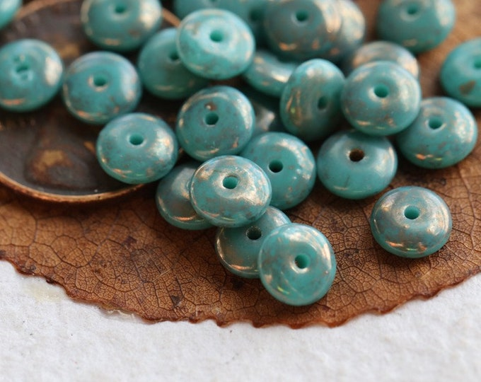 BRONZE TEAL DISC .. New 50 Premium Picasso Czech Glass Disc Spacer Beads 6x2mm (8037-st)