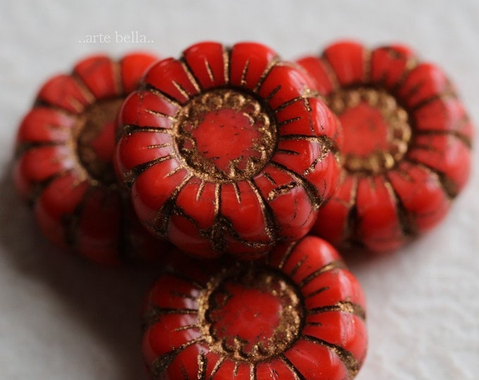 BRONZED CORAL SUNFLOWERS .. New 4 Premium Picasso Czech Glass Flower Beads 13mm (7029-4)