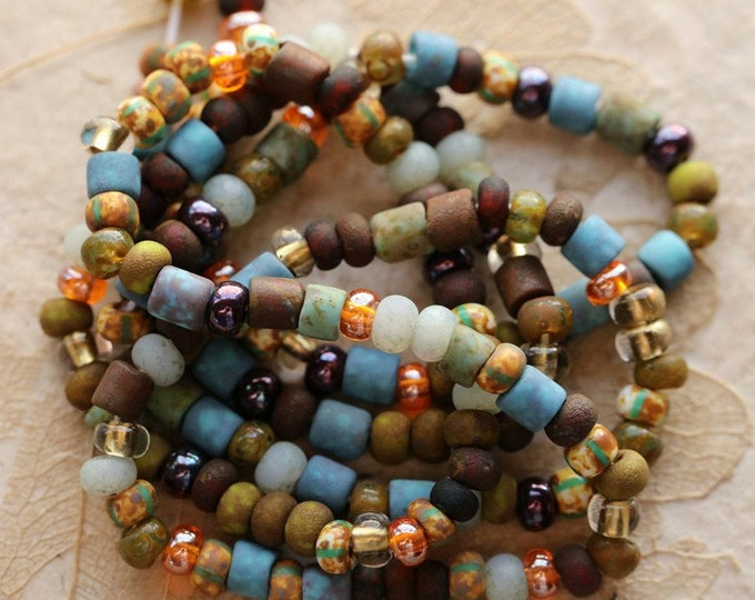 """AUTUMN SKY SEEDS No. 8592 .. 21"""" Premium Picasso Czech Glass Striped Seed Tube Bead Mix Size 6/0 (8592-st)"""