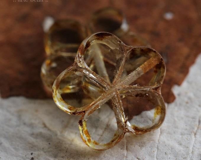 WHISPER POSIES .. 2 Premium Picasso Czech Glass Flower Beads 17mm (6781-2)