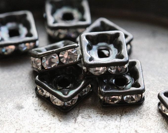 8mm Black Premium Czech Clear Crystal Rhinestone Squaredelles x10 (rhi-34)