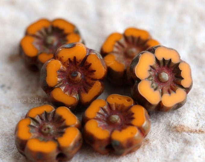 ORANGE PANSY 7mm .. 6 Picasso Czech Glass Flower Beads 7mm (6303-6)