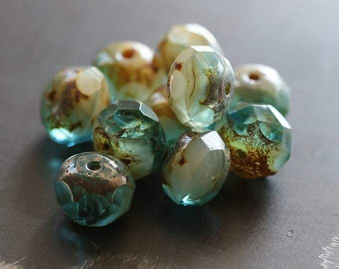 SANDY BEACH .. 10 Premium Picasso Czech Glass Faceted Rondelle Beads 6x9mm (8365-10)
