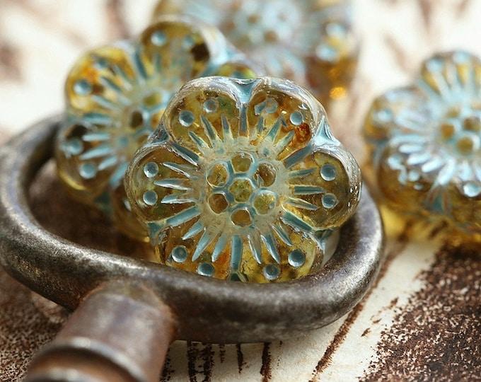 BLUE HONEY ROSES .. New 6 Premium Picasso Czech Glass Wild Rose Beads 14mm (8772-6)