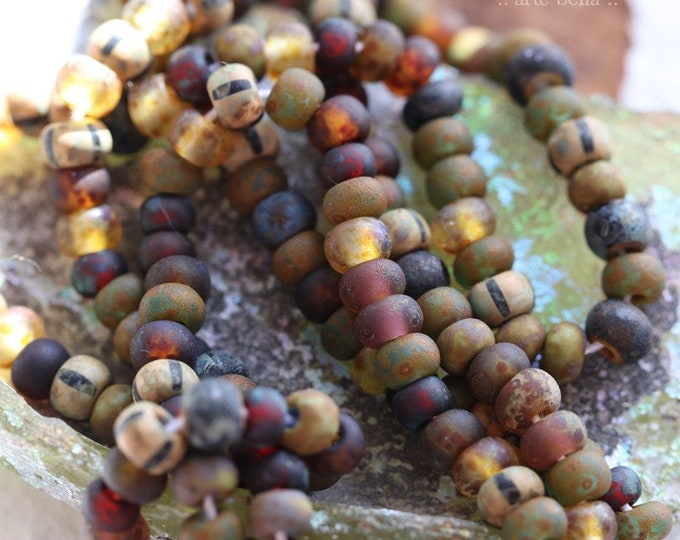 "AGED FOREST MIX No. 8048 .. 21"" Premium Picasso Czech Glass Matte Aged Striped Seed Bead Mix Size 6/0 (8048-st)"