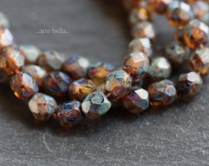 AMBER PICASSO BABIES No. 1 .. New 50 Premium Picasso Faceted Czech Glass Beads 4mm (6491-st)