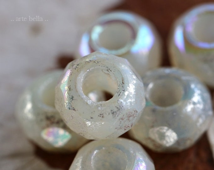 MYSTIC OPAL ROLLERS .. New 6 Premium Czech Glass Large Hole Roller Beads 8x12mm (7494-6)