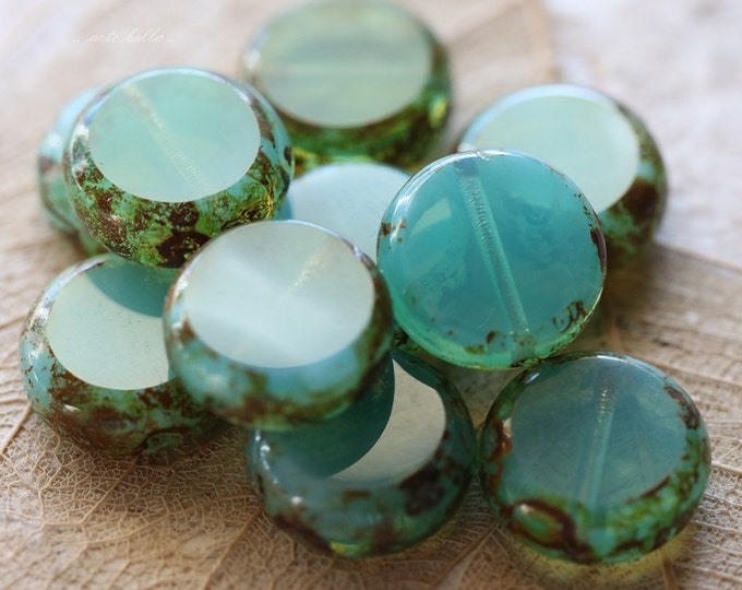 last ones .. SLICED LAGOON .. 10 Premium Picasso Czech Glass Coin Beads 10mm (4852-10)