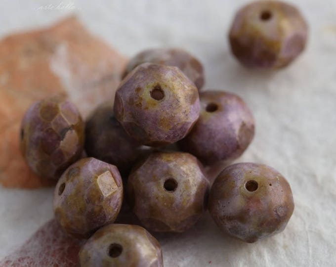 LAVENDER GOLDSTONE .. 10 Premium Picasso Czech Glass Beads 6x9mm (5823-10)