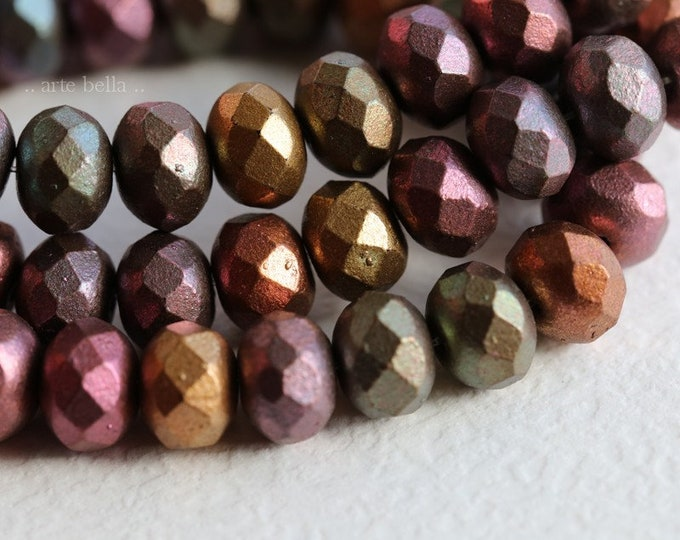 METALLIC MIX 6x8mm .. New 25 Premium Picasso Mix Czech Glass Rondelle Beads (6897-st)