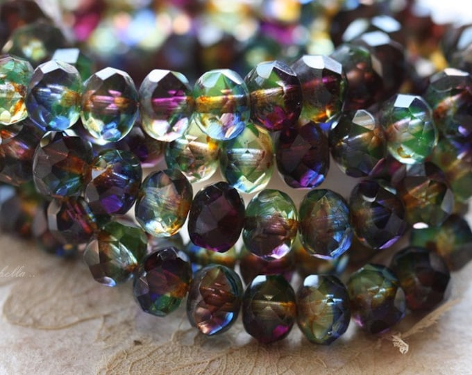 ROYALTY .. 10 Premium Picasso Czech Rondelle Glass Beads 6x8mm (4630-10)