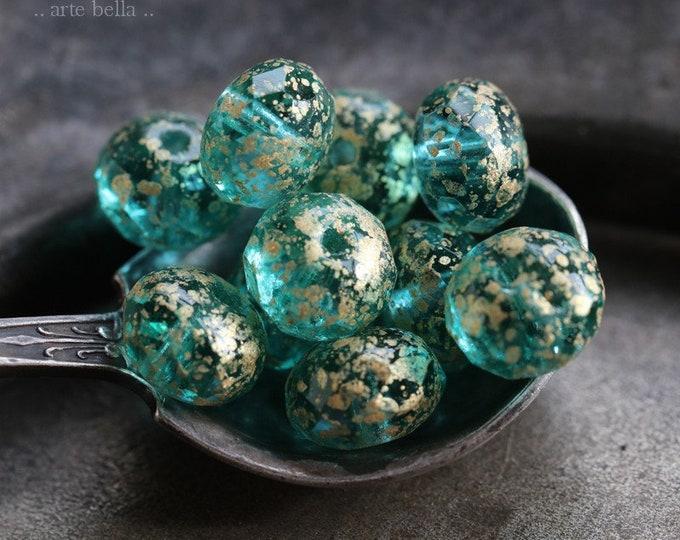 GOLDEN AQUA GREEN Rondelles .. 10 Premium Czech Glass Rondelle Beads 6x9mm (7545-10)
