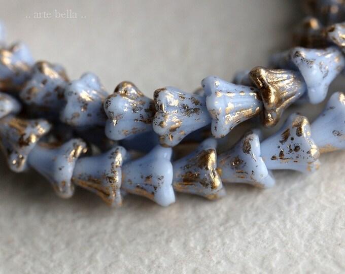 GOLDEN PERIWINKLE BABY Bells .. New 30 Premium Czech Glass Bell Flower Bead 5x6mm (7258-st)