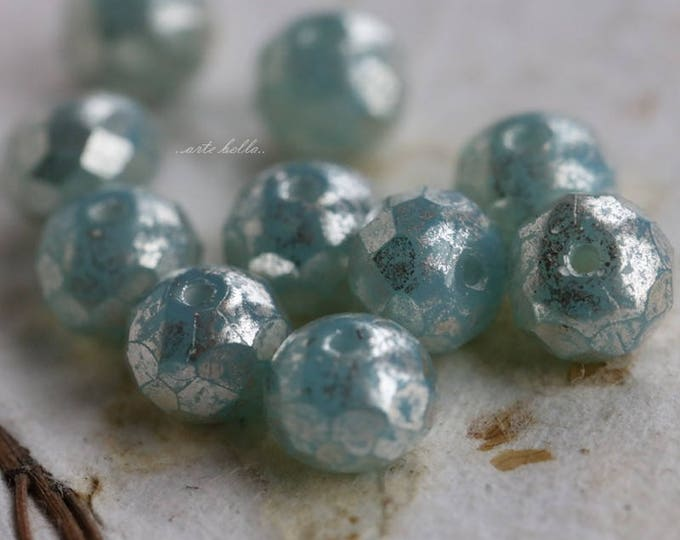 SILVERED AQUA No. 2 .. 10 Picasso Czech Rondelle Glass Beads 5x7mm (5745-10)