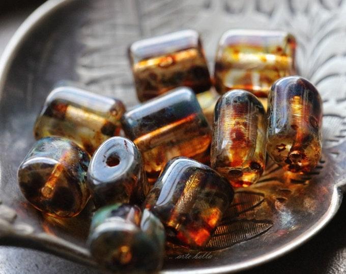 AMBER BROWN PILLOWS .. 10 Picasso Czech Glass Rectangle Beads 8x8mm (4972-10)