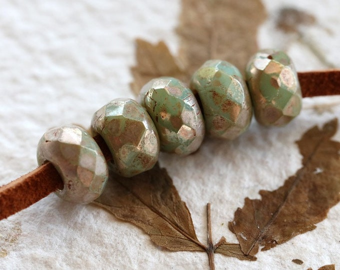 SILVERED SAGE ROLLERS .. New 10 Premium Picasso Czech Glass Large Hole Roller Beads 6x9mm (6193-10)