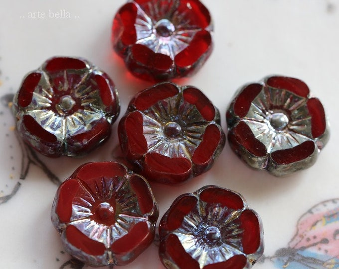GARNET PANSY .. 6 Premium Picasso Czech Glass Flower Beads 12mm (5762-6)